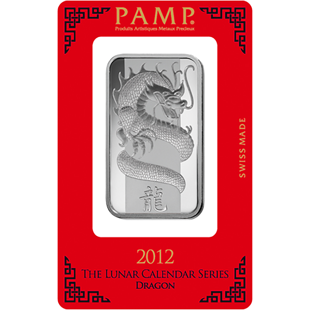 PAMP 2012 Lunar Dragon 1oz Silver Bar