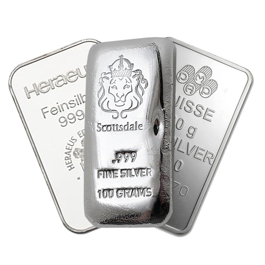 Bullion 100g Silver Bar (Image 1)