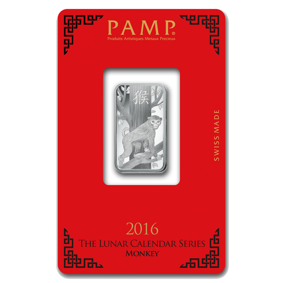 PAMP 2016 Lunar Monkey 10g Silver Bar