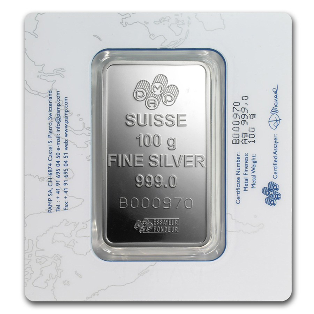 Pre-Owned PAMP Suisse Fortuna 100g Silver Bar - Certificated (Image 2)