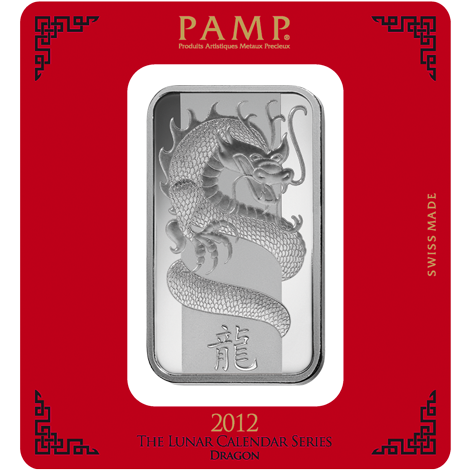 PAMP 2012 Lunar Dragon 100g Silver Bar