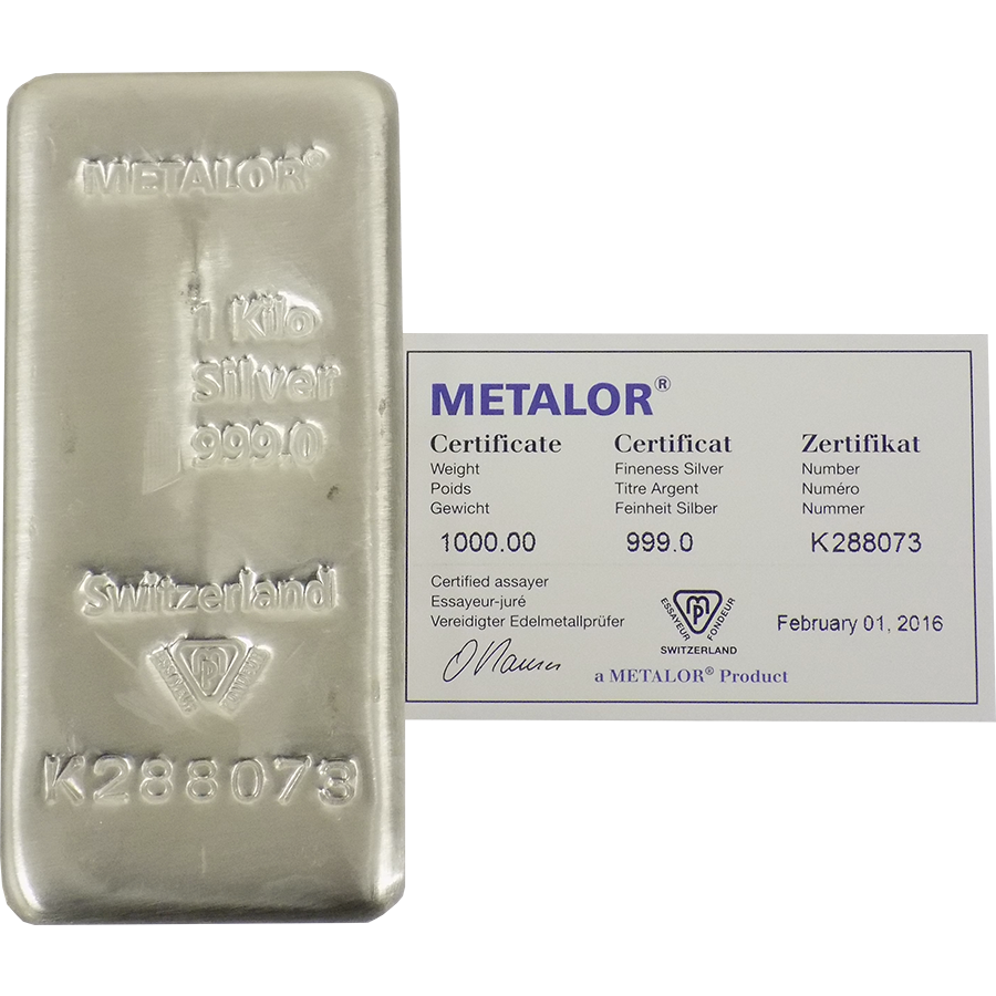 1Kg Silver Bar - Certificated