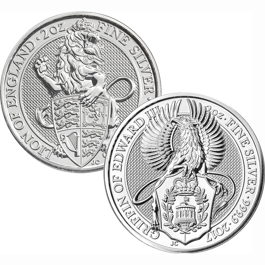 2016 & 2017 UK Queen's Beasts Lion & Griffin 2oz Silver Coin Collection