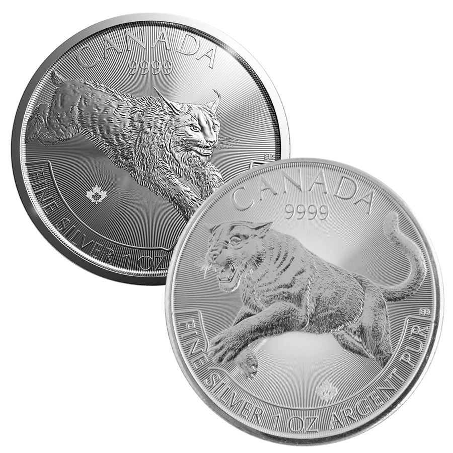 2016 Canadian Cougar & 2017 Canadian Lynx 1oz Silver Coin Collection