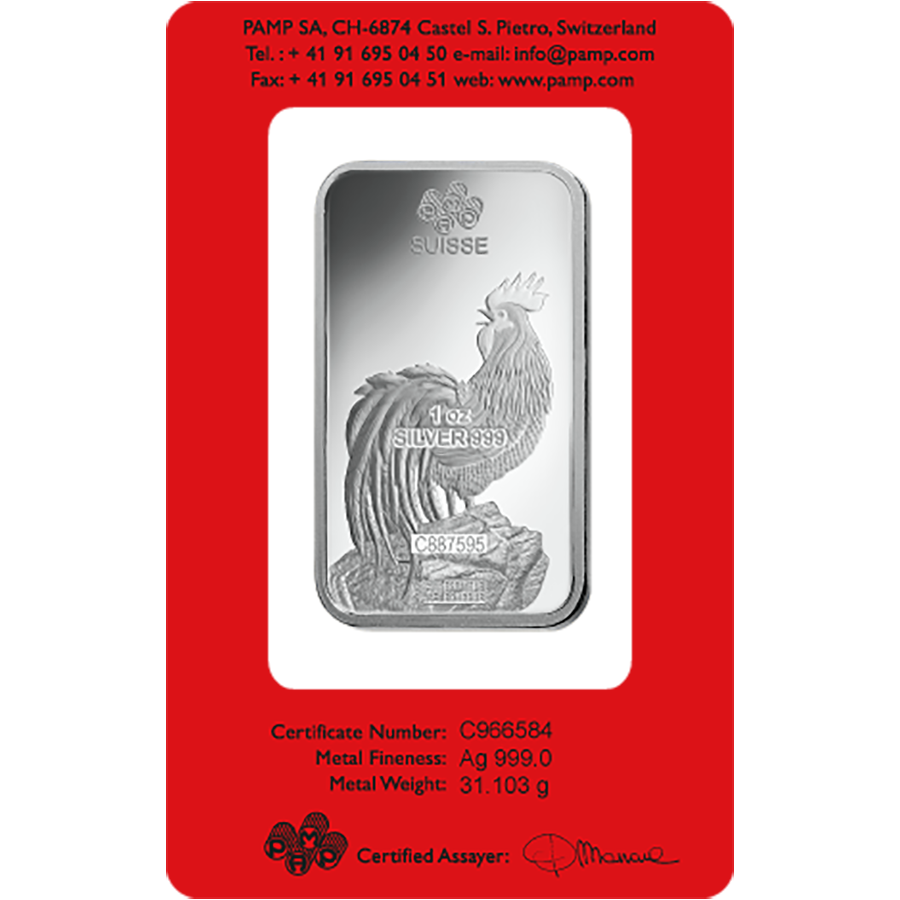 PAMP 2017 Lunar Rooster 1oz Silver Bar with Gift Box & Certificate (Image 3)