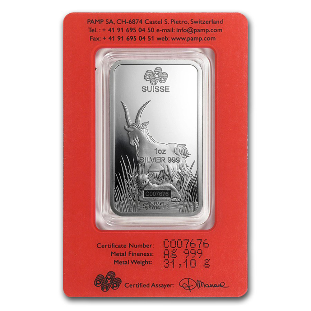 PAMP 2015 Lunar Goat 1oz Silver Bar with Gift Box & Certificate (Image 3)