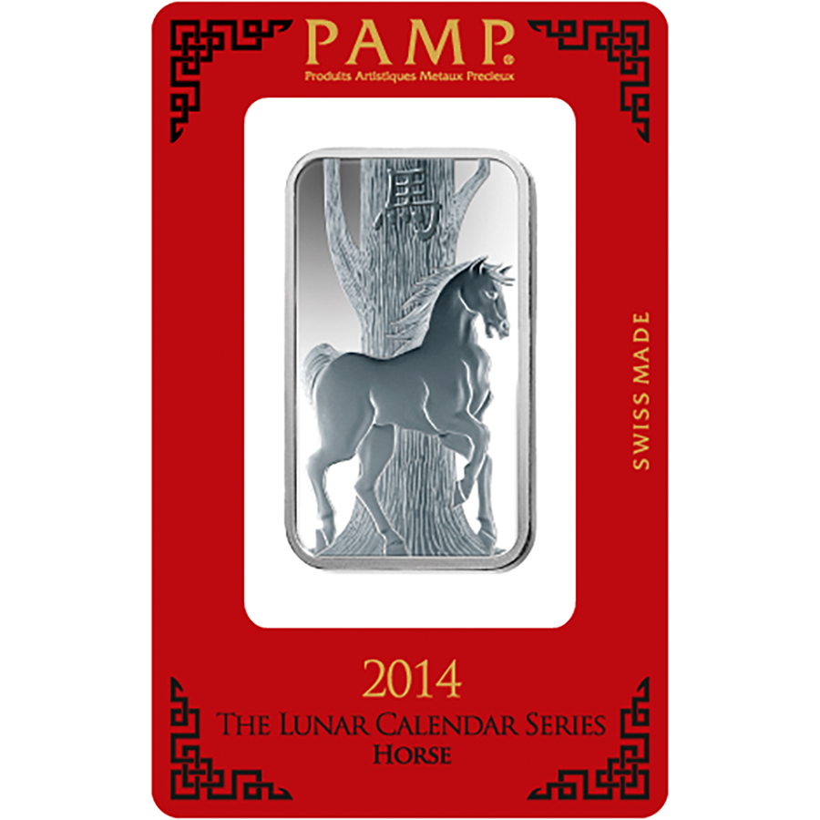 PAMP 2014 Lunar Horse 1oz Silver Bar with Gift Box & Certificate (Image 2)