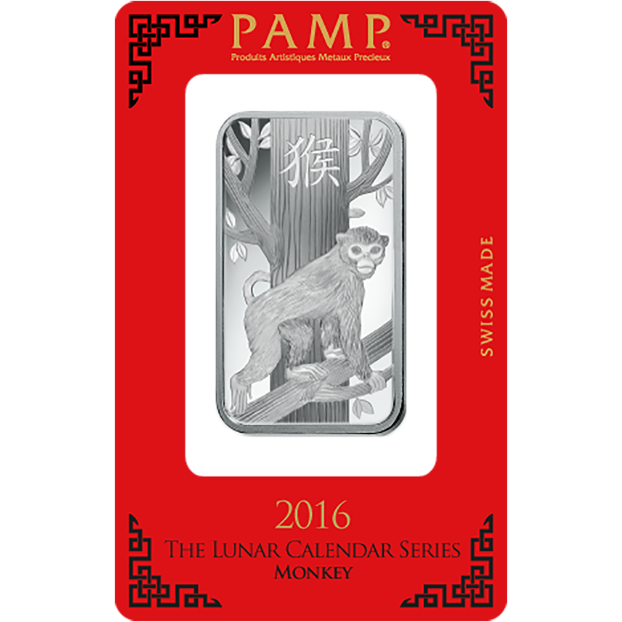 PAMP 2016 Lunar Monkey 1oz Silver Bar with Gift Box & Certificate (Image 2)