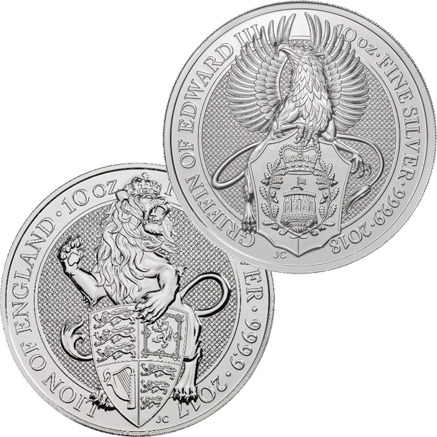 2017 & 2018 UK Queen's Beast Lion & Griffin 10oz Silver Coin Collection (2 coins)