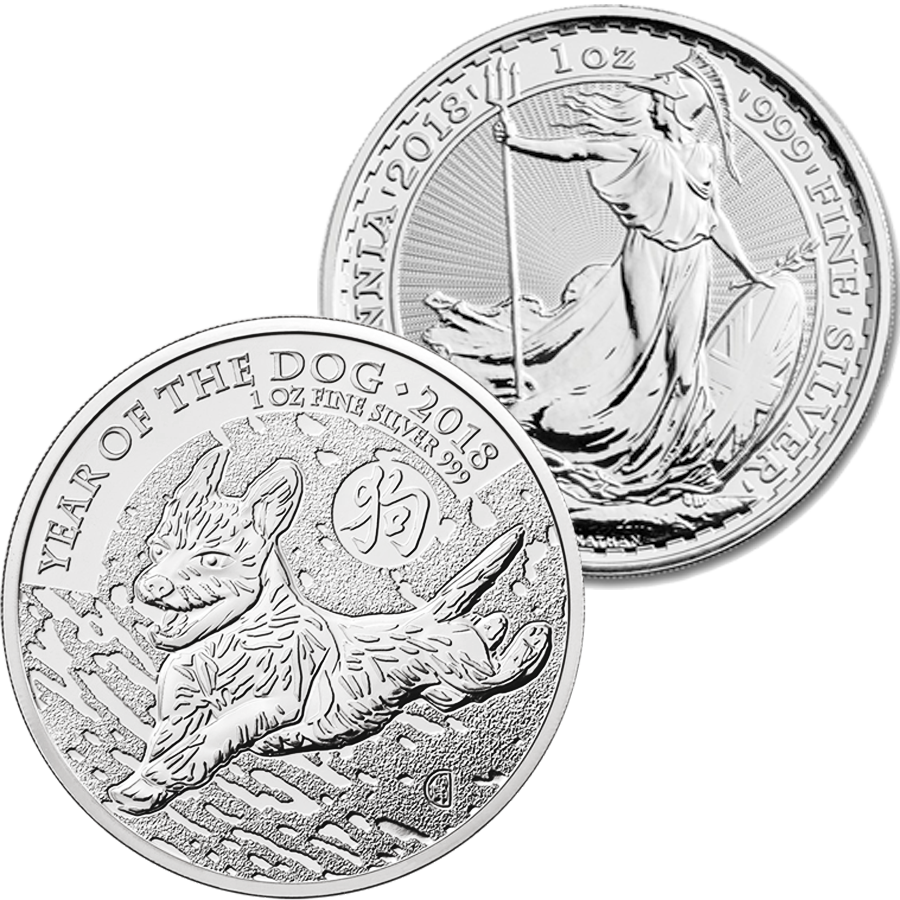 2018 UK Britannia & UK Lunar Dog 1oz Silver Collection