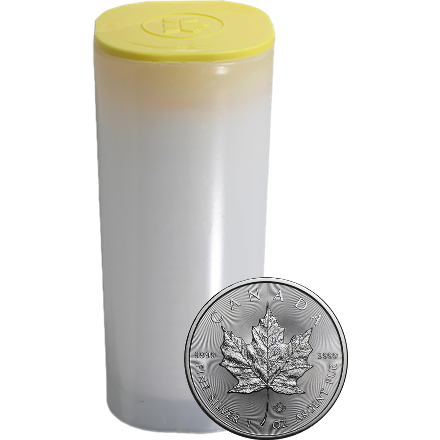 2018 Canadian Maple 1oz Silver Coins in Tube - (25 Coins)