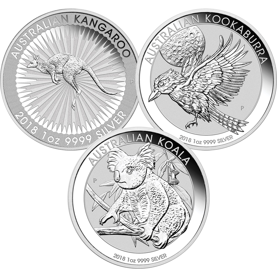 2018 Australian Silver 1oz Kangaroo, Koala, & Kookaburra Collection (3 Coins)