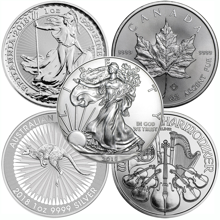 2018 Most Popular 1oz Silver Coin Collection - 5 Coins