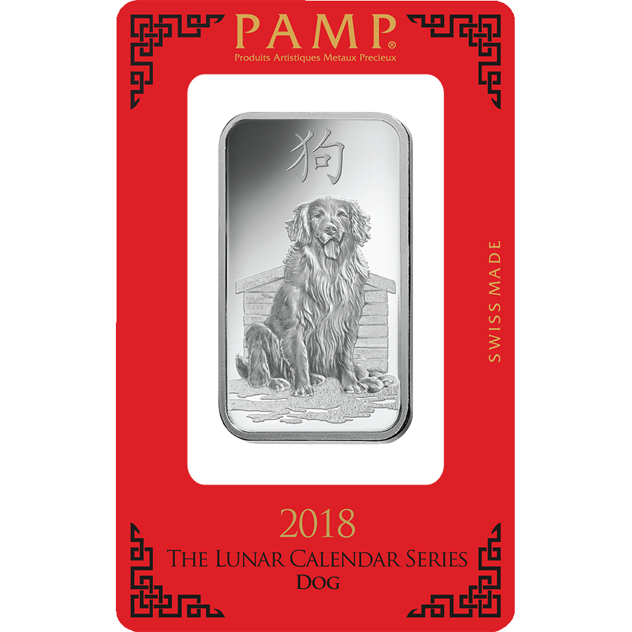 PAMP 2018 Lunar Dog 1oz Silver Bar with Gift Box & Certificate (Image 2)