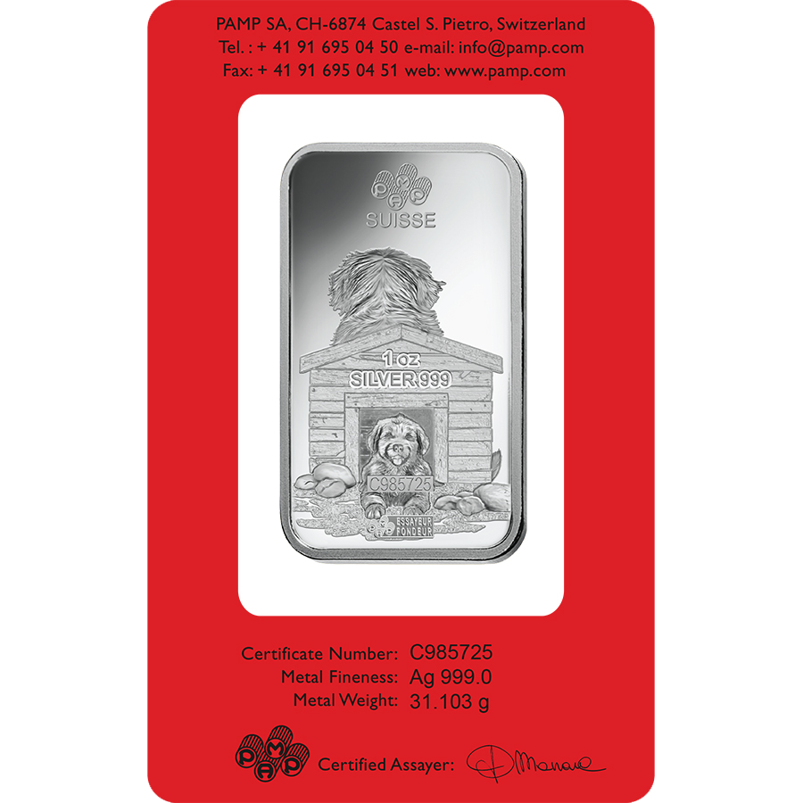 PAMP 2018 Lunar Dog 1oz Silver Bar with Gift Box & Certificate (Image 3)