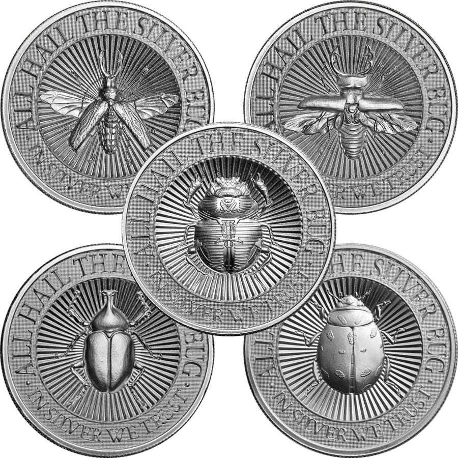 UHR The Silver Bug The 2oz Silver Round Collection (5 coins)