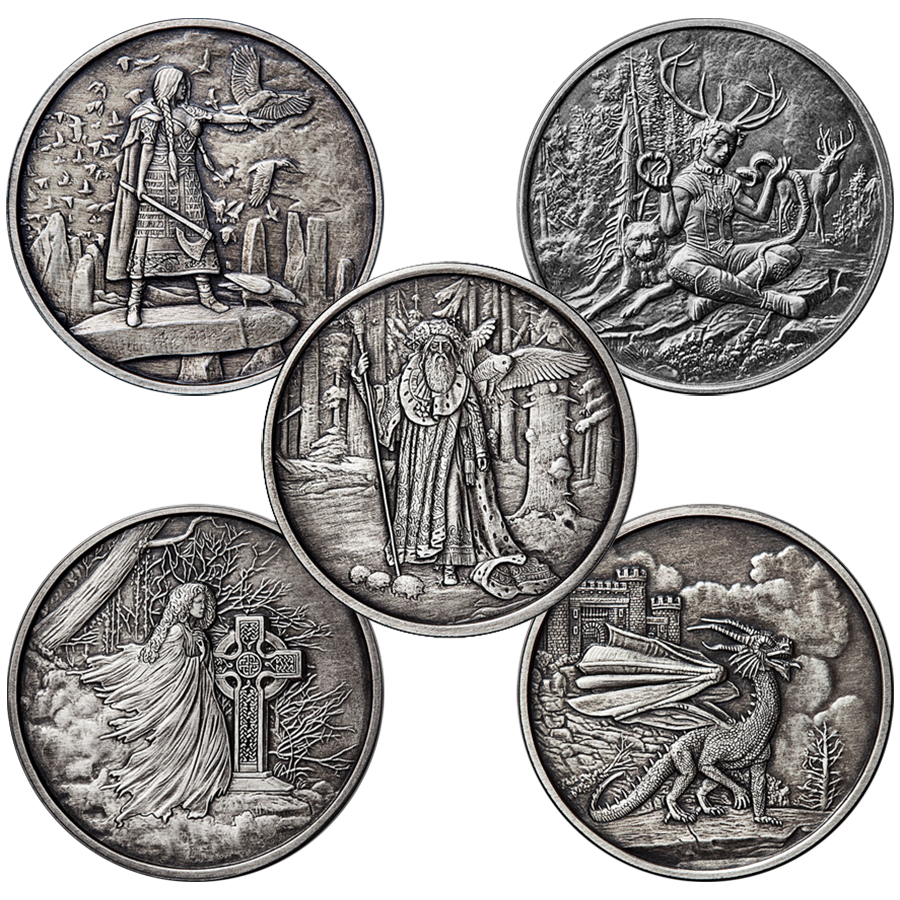 Celtic Lore 5oz Silver Antique Round Collection (5 Coins)