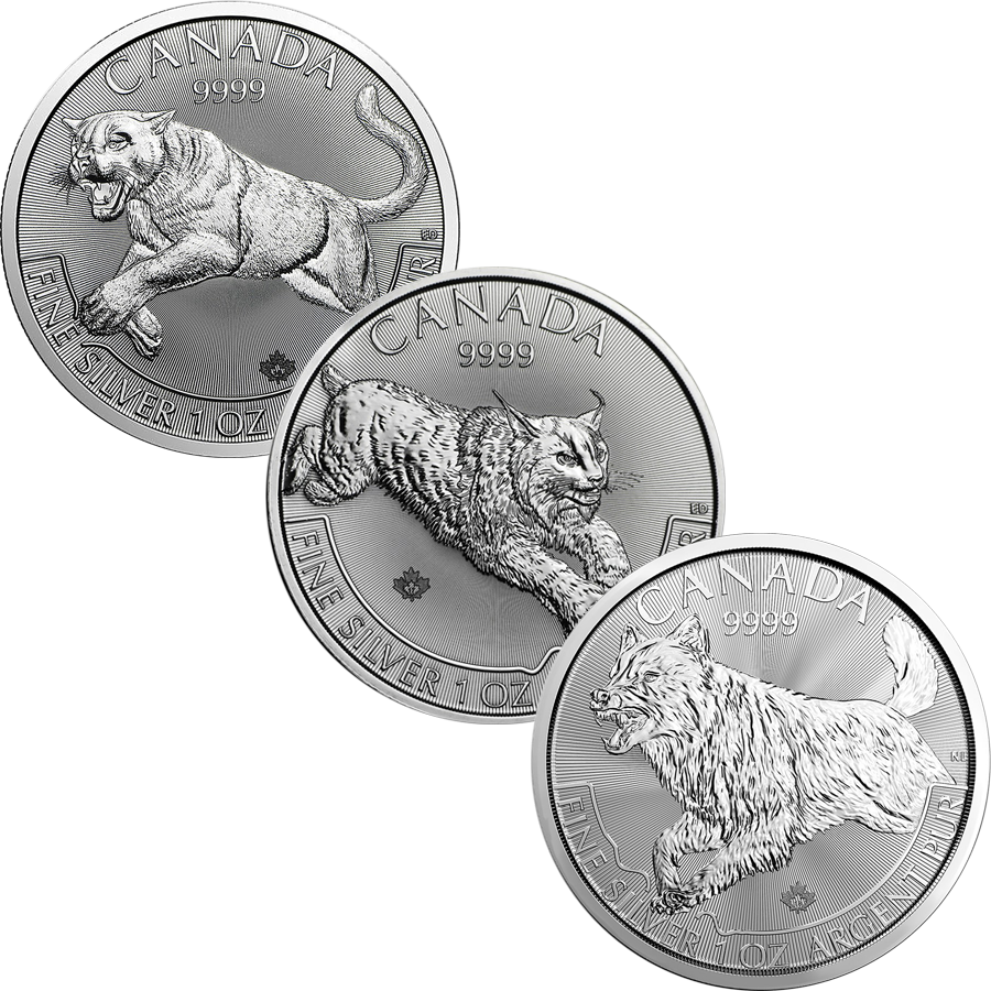 2016 - 2018 Canadian Cougar, Lynx & Wolf 1oz Silver Coin Collection