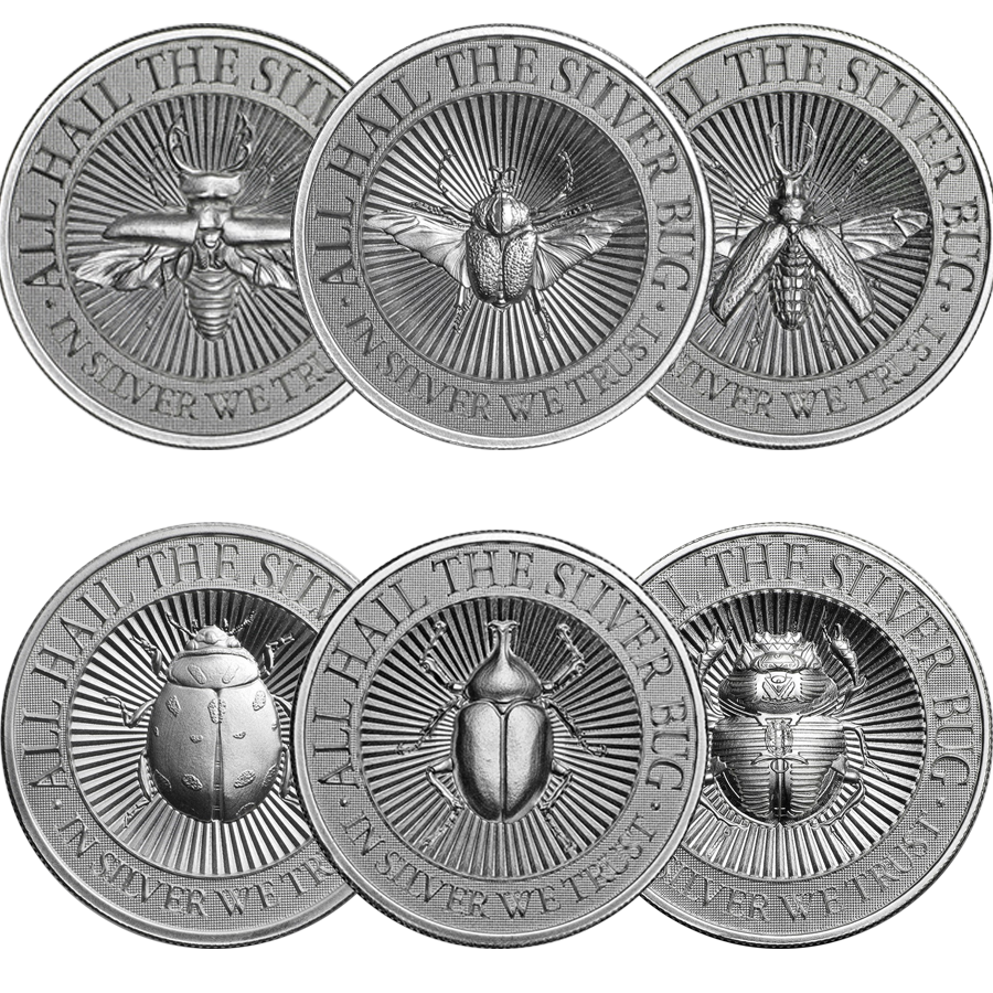 UHR The Silver Bug The 2oz Silver Round Collection (6 coins)