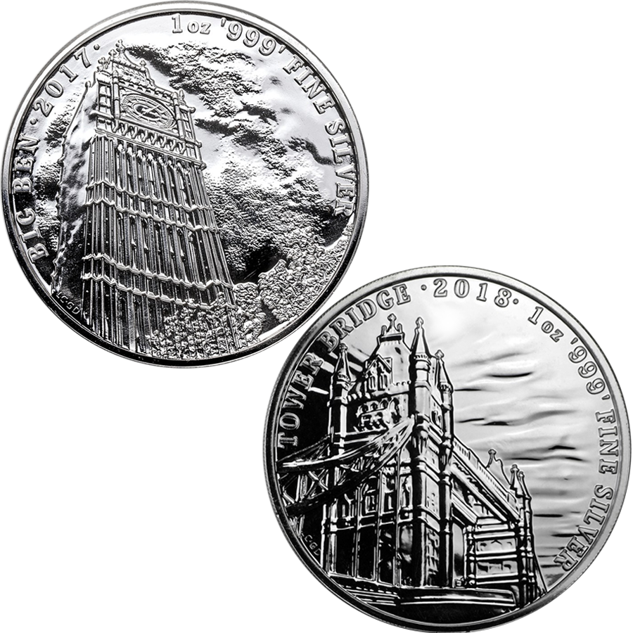 2017 - 2018 UK Landmarks Of Britain Big Ben and Tower Bridge 1oz Silver Coin Collection