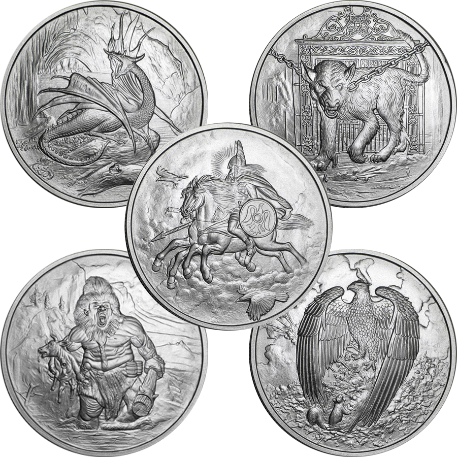 Nordic Creatures 1oz Silver Round Collection (5 Coins)