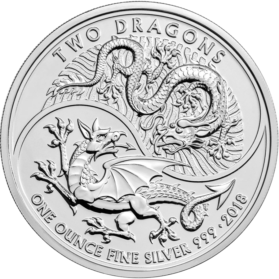 2018 UK Two Dragon 1oz Silver Coin with Gift Box & Certificate (Image 2)