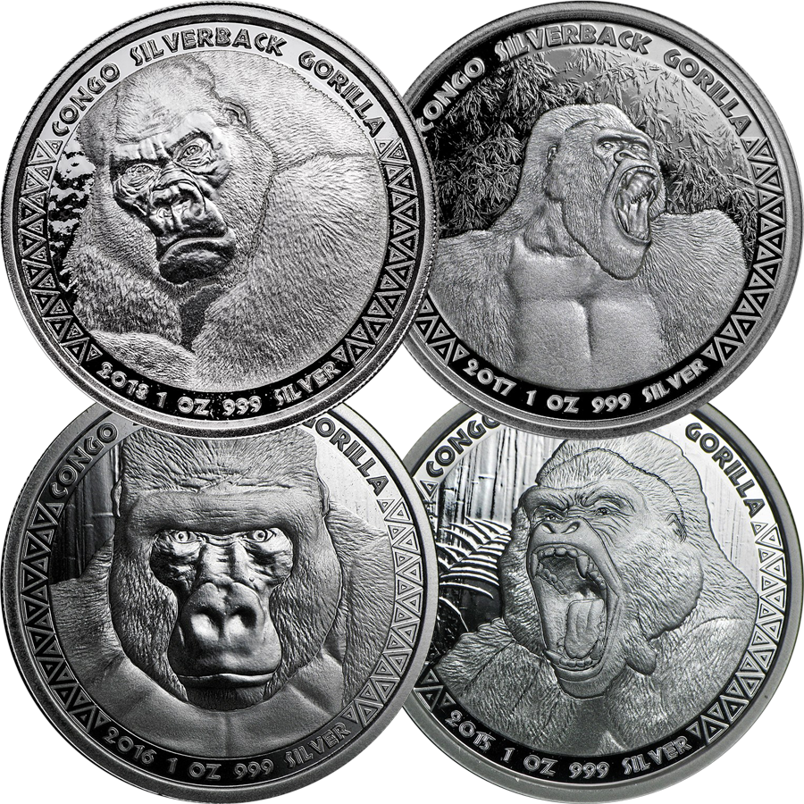 2015 - 2018 Congo Silverback Gorilla 1oz Silver Coin Collection (4 coins)