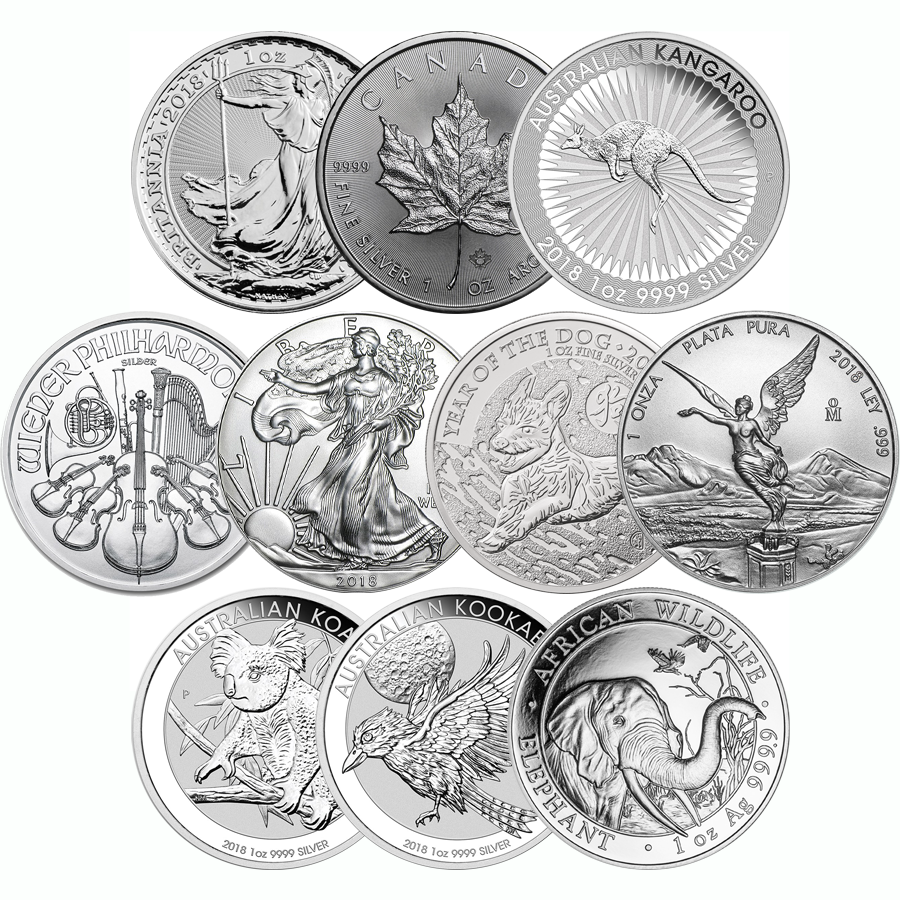 2018 The Most Popular 1oz Silver Coin Collection - 10 Coins
