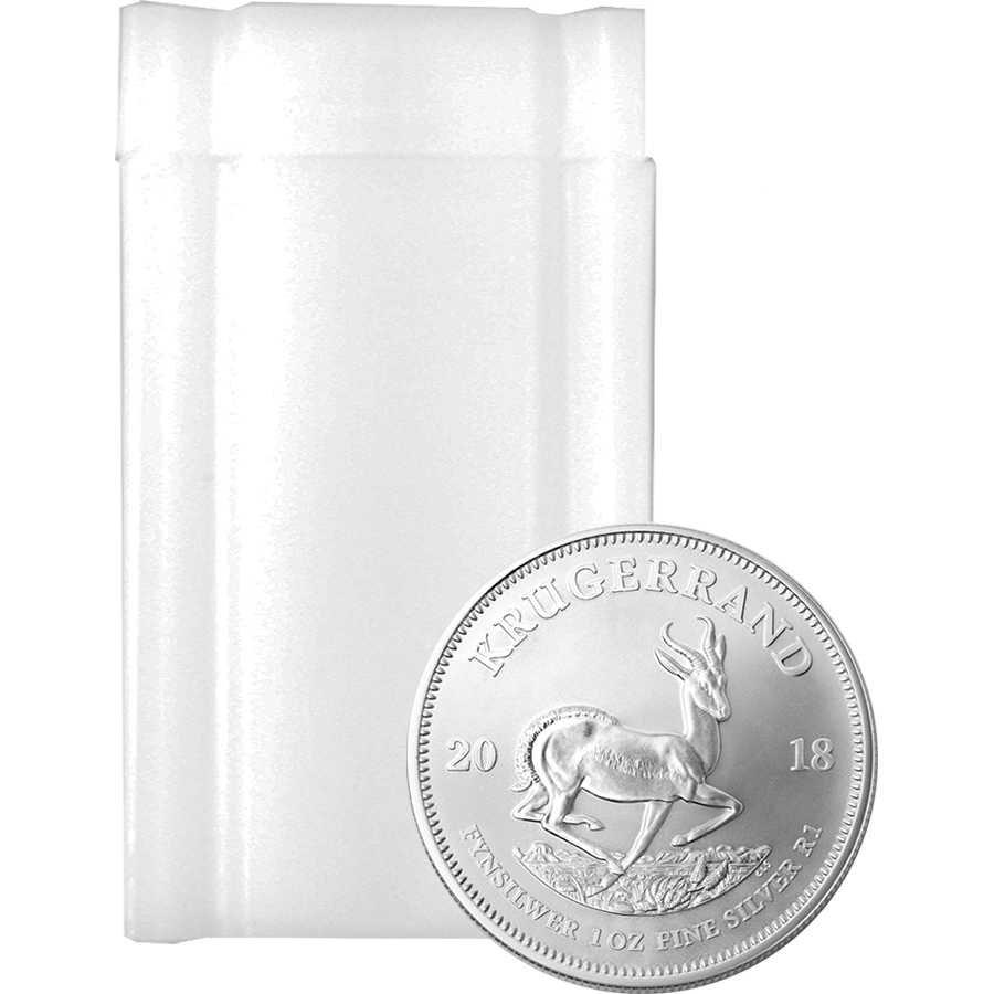 2018 South African Krugerrand 1oz Silver Coins in Tube - (25 Coins)