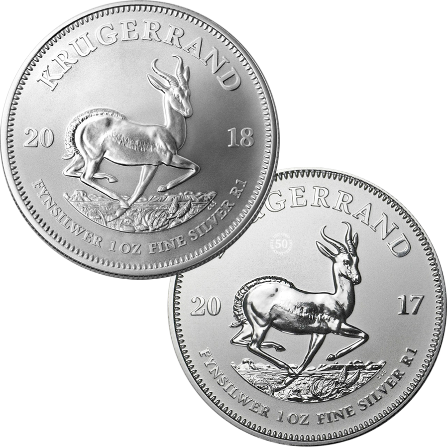 2017 & 2018 South African Krugerrand 1oz Silver Coin Collection