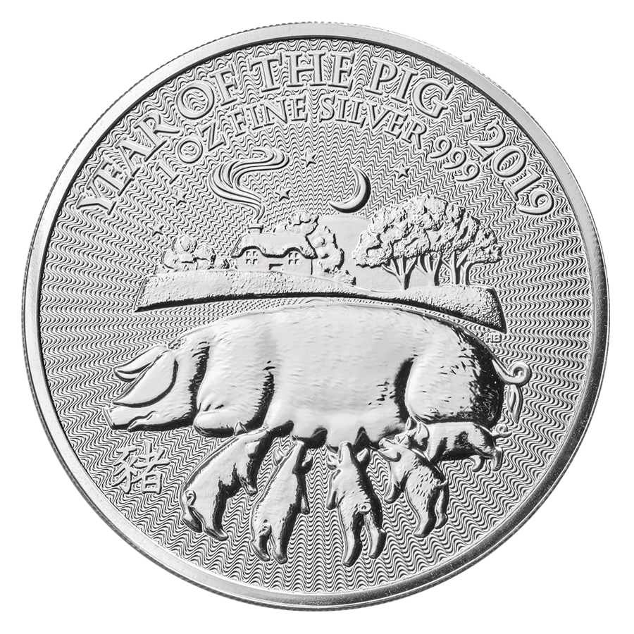 2019 UK Lunar Pig 1oz Silver Coin - Full Roll of 20 Coins (Image 2)