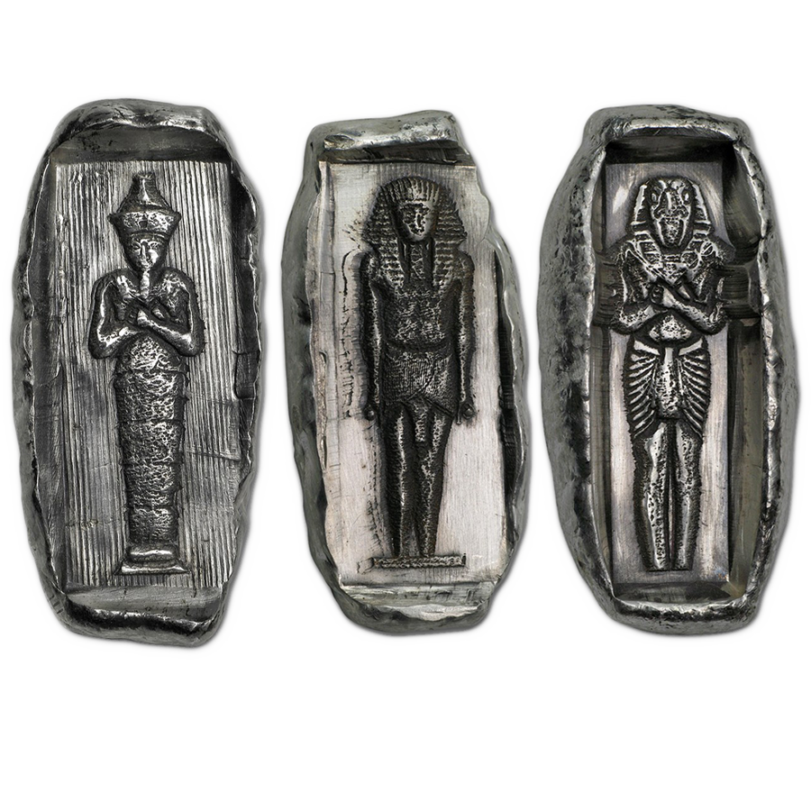Egyptian Tomb Relic 2oz Hand-Poured Silver 3 Bar Collection