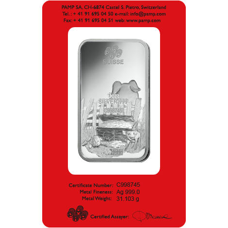 PAMP 2019 Lunar Pig 1oz Silver Bar with Gift Box & Certificate (Image 3)