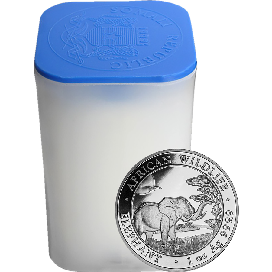 2019 Somalian Elephant 1oz Silver Coin - Full Tube of 20 Coins