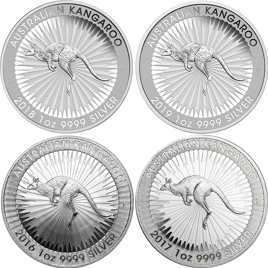 2016 - 2019 Australian Kangaroo 1oz Silver Coin Collection (Image 1)
