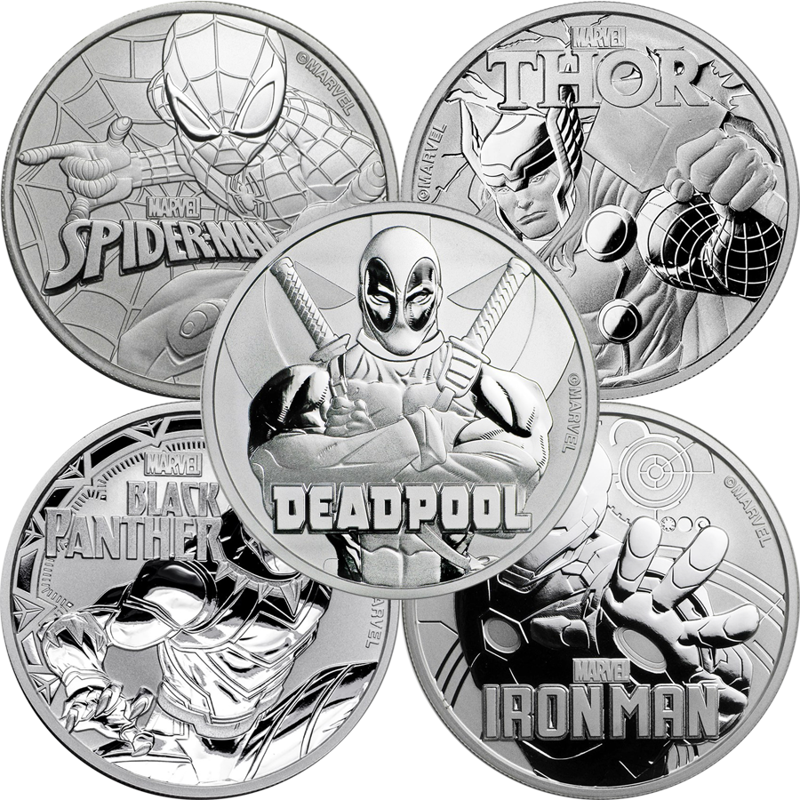 2017-2018 Tuvalu Marvel Series - Spider-Man, Thor, Black Panther, Iron Man, Deadpool 1oz Silver Coin