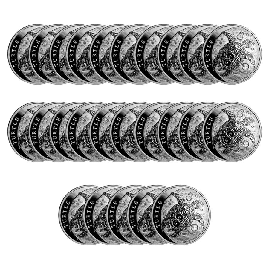 2019 Niue Hawksbill Turtle 1oz Silver Coin - Full Tube of 25 Coins (Image 2)