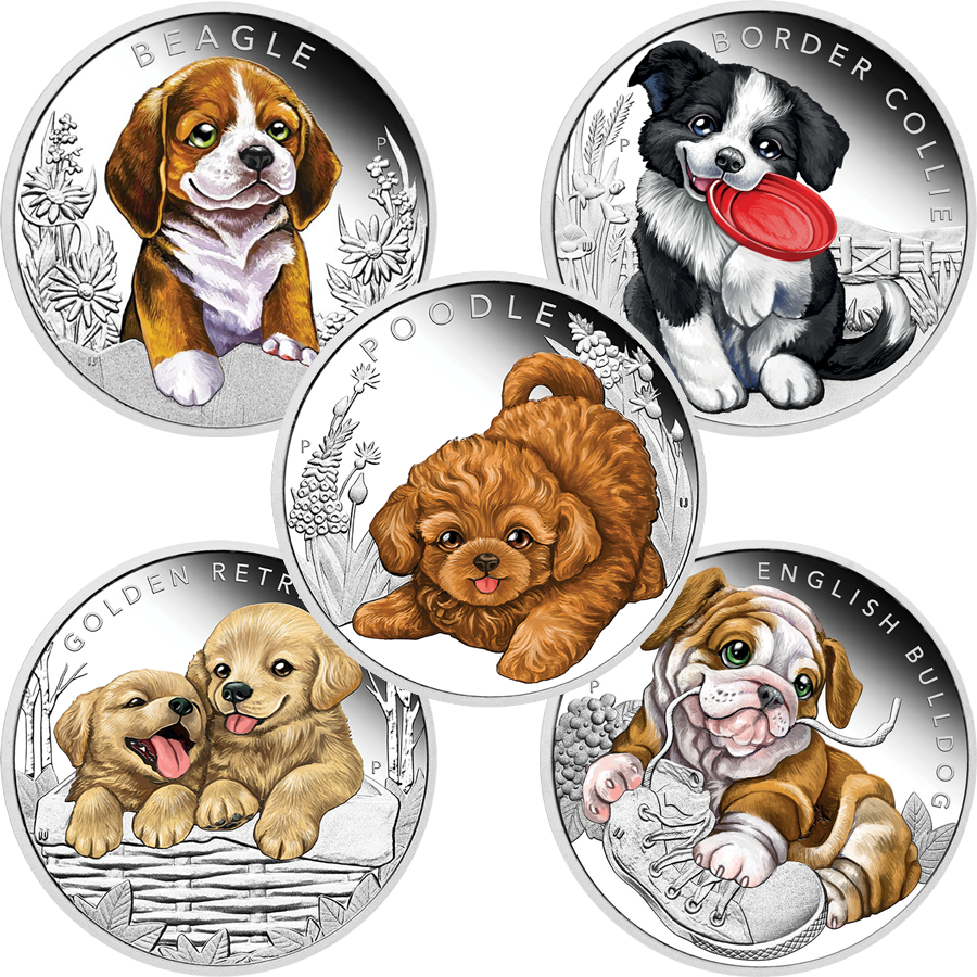2018 Australian Puppies Series: Complete Collection 1/2oz Silver Proof Coins (5 Coins)