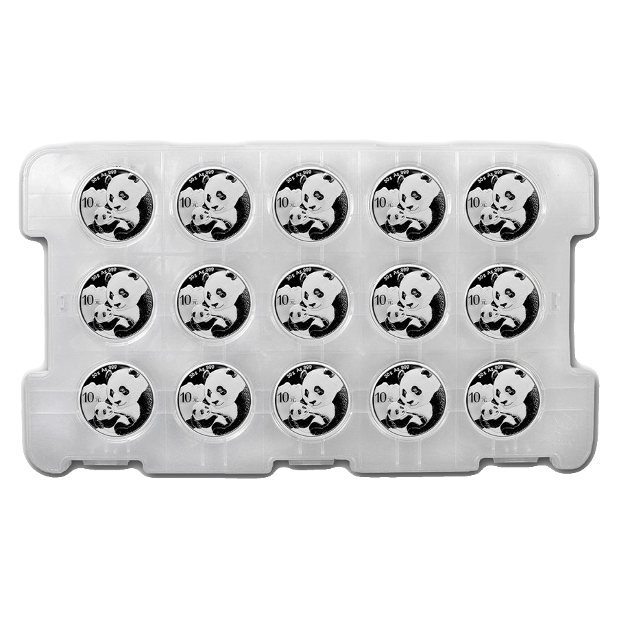 2019 Chinese Panda 30g Silver Coin - Tray of 15 Coins