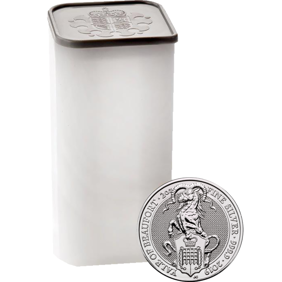 2019 UK Queen's Beasts The Yale of Beaufort 2oz Silver Coin - Full Tube of 10 Coins