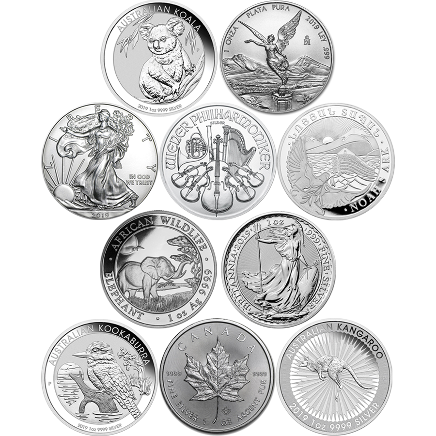2019 Most Popular 1oz Silver Coin Collection - 10 Coins (Image 1)