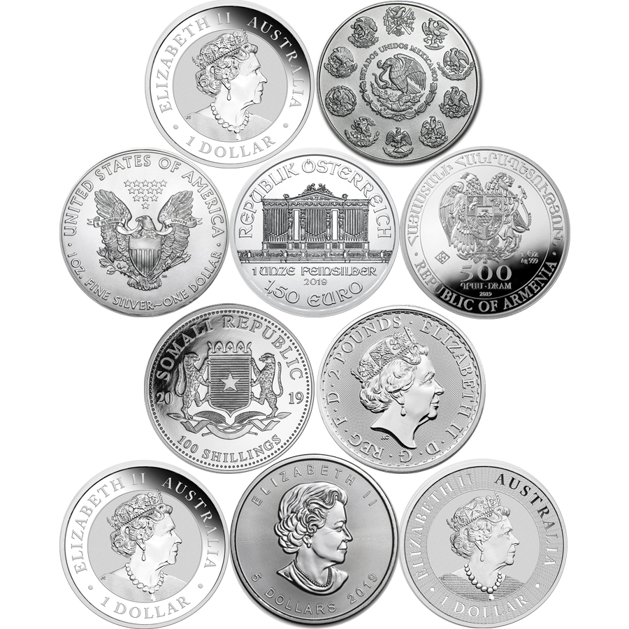 2019 Most Popular 1oz Silver Coin Collection - 10 Coins (Image 2)