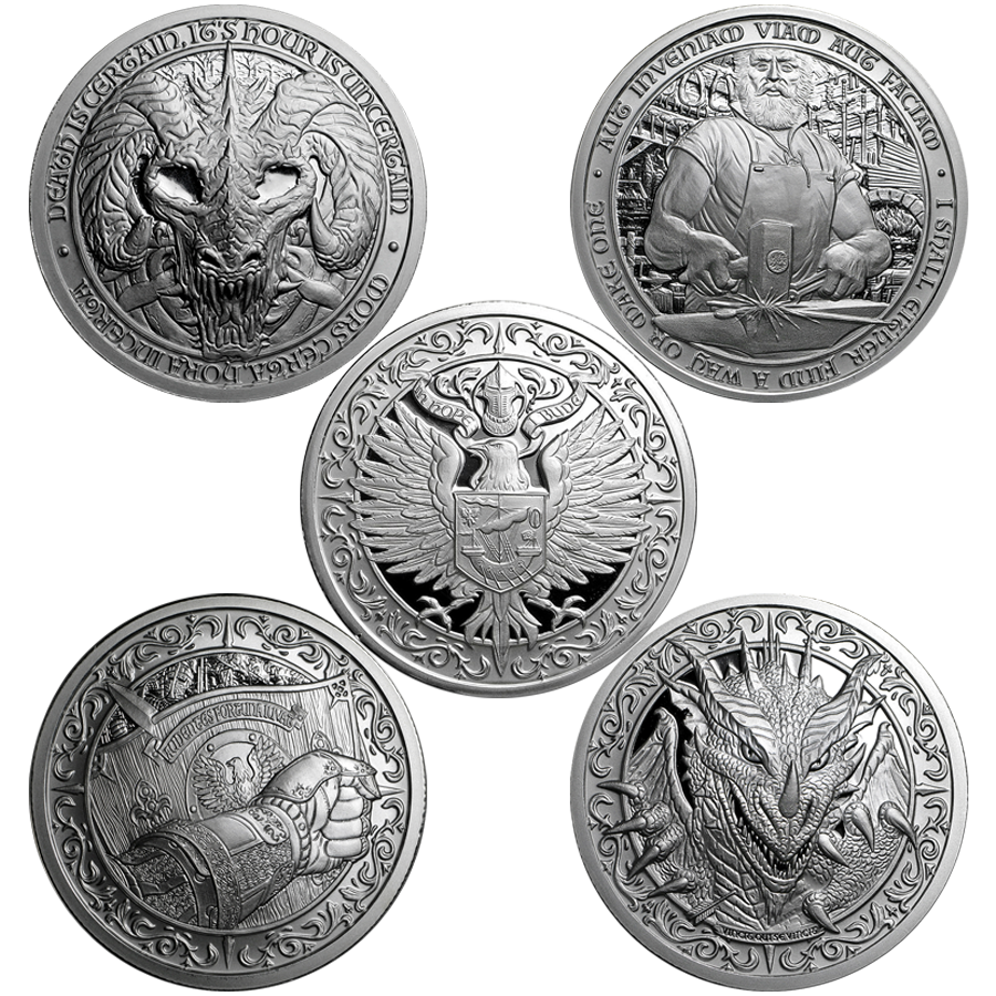 Destiny Knight 2oz Silver Round Collection - 5 Coins