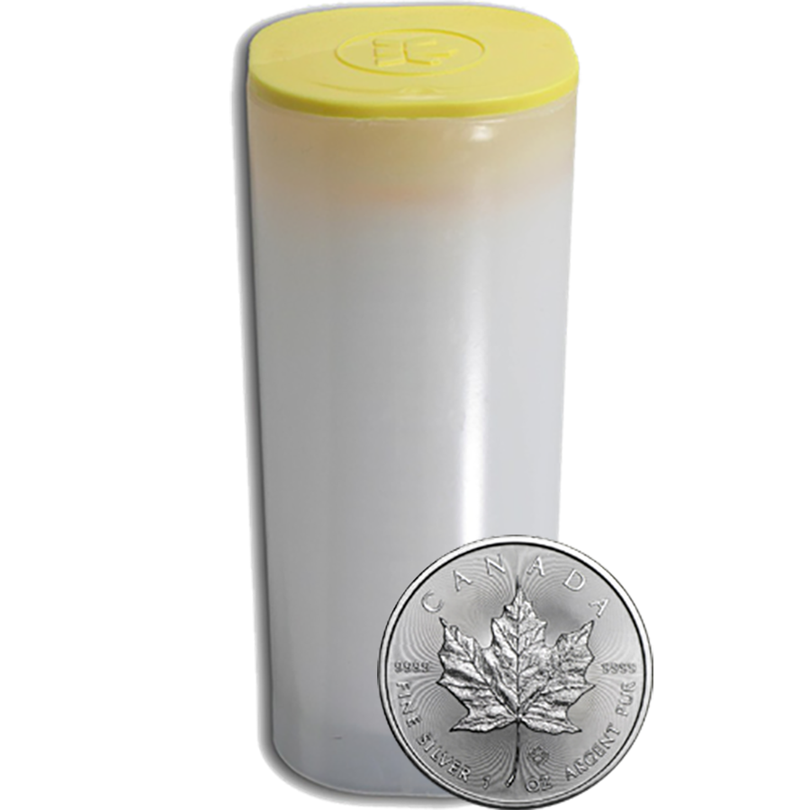 Pre-Owned Canadian Maple 1oz Silver Coins in Tube - VAT Free (25 Coins)