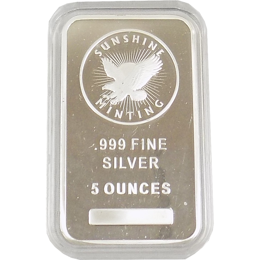 Sunshine Mint 5oz Silver Bar with Capsule
