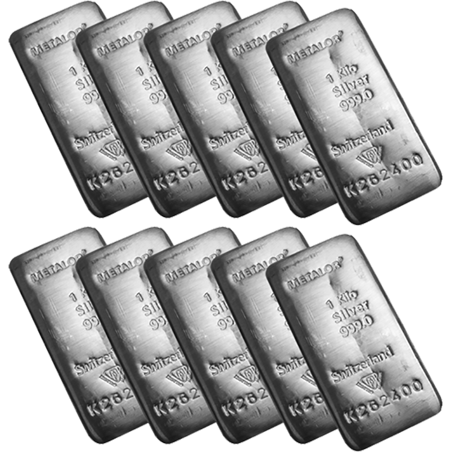 Metalor 1kg Silver 10 Bar Bundle