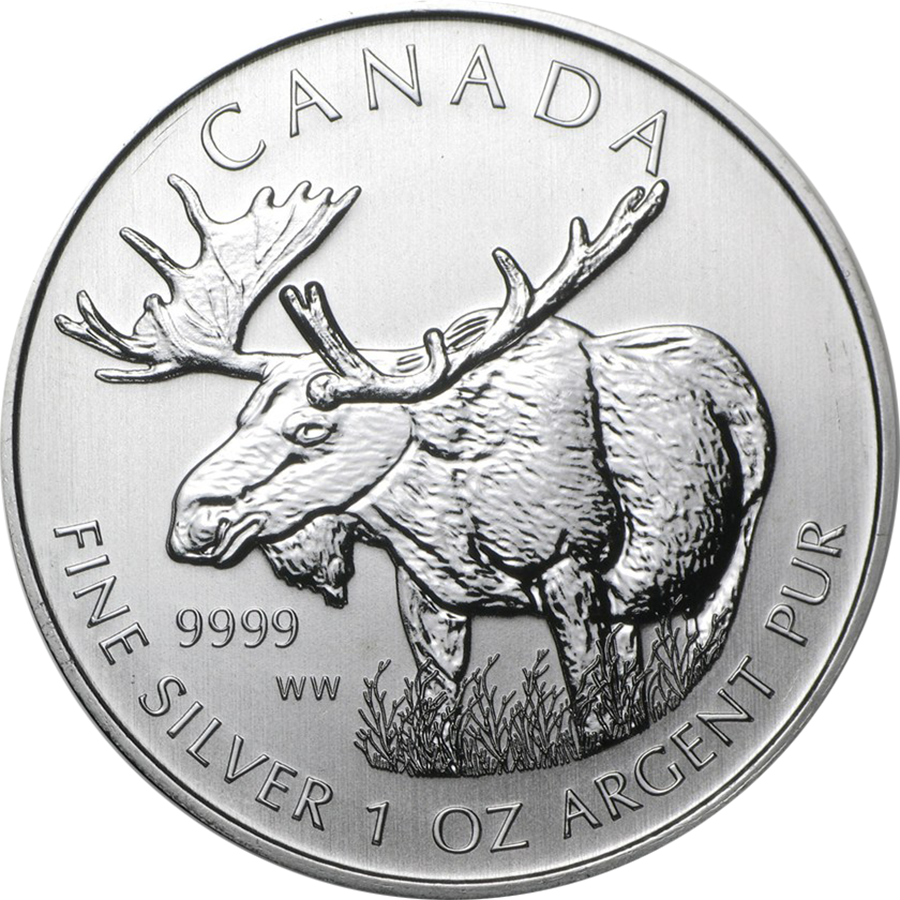 Pre-Owned 2012 Canadian Moose 1oz Silver Coin - VAT Free