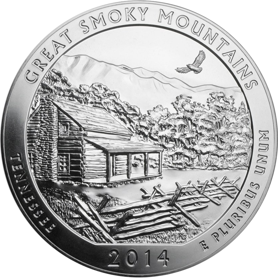 Pre-Owned 2014 ATB Great Smoky Mountains 5oz Silver Coin - VAT Free