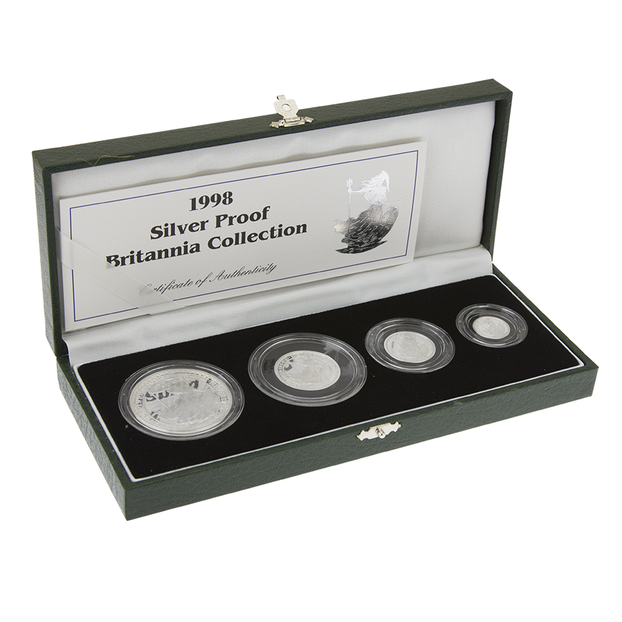 Pre-Owned 1998 Britannia Proof Silver 4 Coin Collection - VAT Free