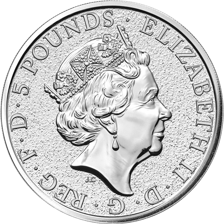 Pre-Owned 2017 UK Queen's Beasts The Dragon 2oz Silver Coin - VAT Free (Image 2)